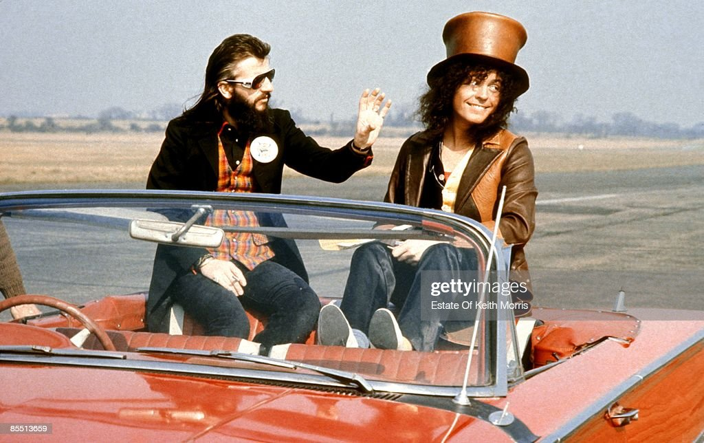 Photo of T REX and Ringo STARR and Marc BOLAN; of T Rex, with Ringo Starr filming 'Born To Boogie', sitting in car