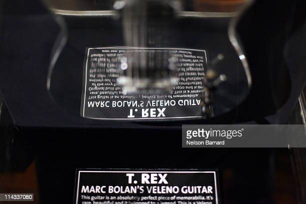 Marc Bolan of T Rex's extremely rare Veleno aluminum guitar built for Marc Bolan in 1971 is shown on display at Hard Rock Cafe's 40th anniversary...