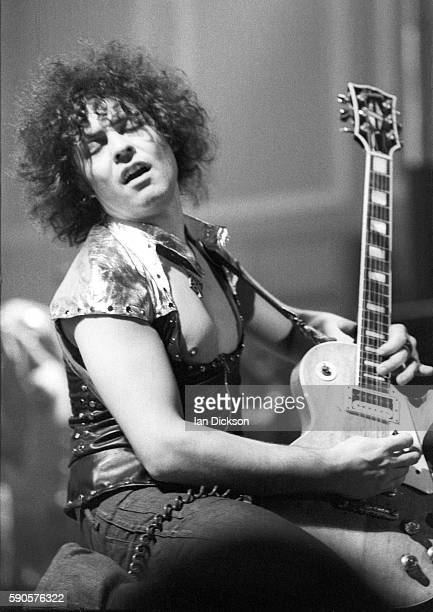 Marc Bolan of T-Rex performing on stage at City Hall, Newcastle upon Tyne 21 January 1974.