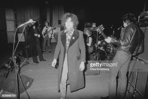 Marc Bolan on stage with punk band The Damned during his 'Dandy In The Underworld' United Kingdom tour 1977 LR Dave Vanian Captain Sensible Marc...