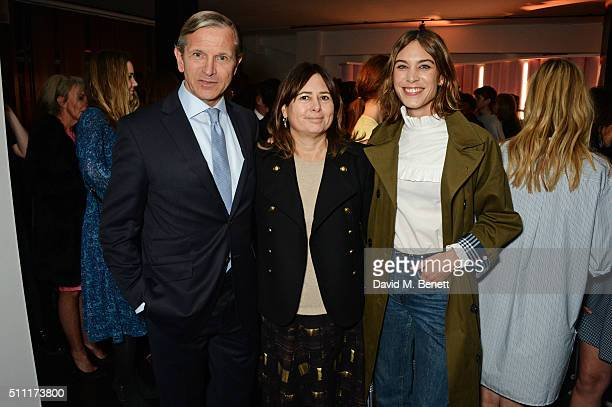 Marc Bolland CEO of Marks and Spencer Alexandra Shulman and Alexa Chung attend a party hosted by Marks and Spencer The British Fashion Council and...