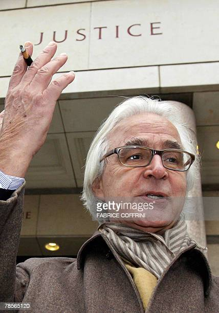 Marc Bonnant lawyer of the Stern family gestures prior to a public hearing 19 December 2007 at the Geneva's Law Court of Cecile Brossard who...