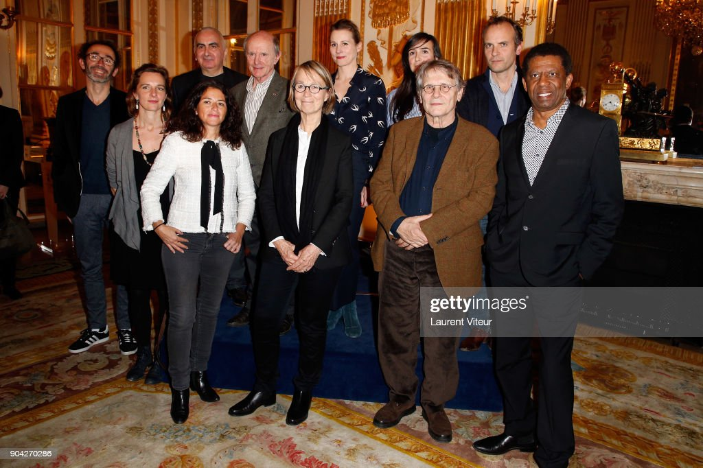 Marc Boutavant, Amandine Dhee, Tonino Benacquista, Karine Tuil, Jean-Louis Etienne, Francoise Nyssen, Agnes Mathieu-Daude, Dominique Sylvain, Daniel Pennac, Timothee de Fombelle and Dany Laferriere attend 'La Nuit de la Lecture' Launch Day at Ministere de la Culture on January 12, 2018 in Paris, France.