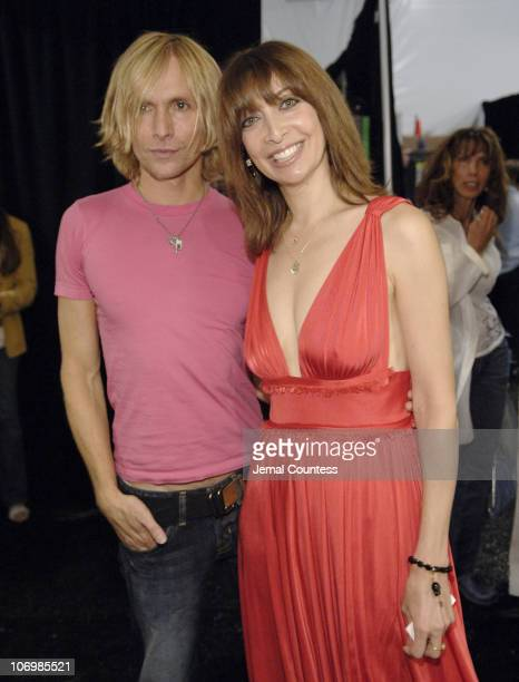 Marc Bouwer and Illeana Douglas during Olympus Fashion Week Spring 2007 Marc Bouwer Front Row at The Atelier Bryant Park in New York City New York...
