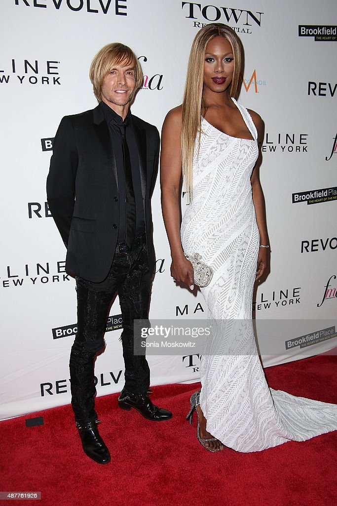 Marc Bouwer and Laverne Cox attend The Daily Front Row's Third Annual Fashion Media Awards at the Park Hyatt New York on September 10, 2015 in New York City.