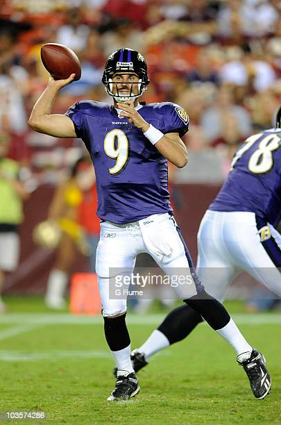 Marc Bulger of the Baltimore Ravens throws a pass during the preseason game against the Washington Redskins at FedExField on August 21 2010 in...