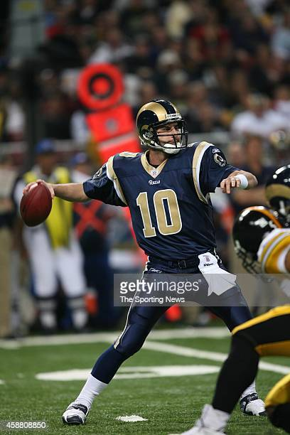 Marc Bulger of the St Louis Rams in action during a game against the Pittsburgh Steelers on December 20 2007 at the Edward Jones Dome in St Louis...