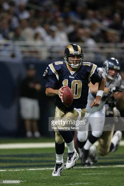 Marc Bulger of the St Louis Rams in action during a game against the Seattle Seahawks on October 9 2005 at the Edward Jones Dome stadium in St Louis...