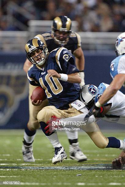 Marc Bulger of the St Louis Rams in action during a game against the Tennessee Titans on September 25 2005 at the Edward Jones Dome Stadium in St...