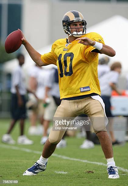Marc Bulger of the St Louis Rams looks to pass during training camp at the Russell Training Facility on July 27 2007 in St Louis Missouri