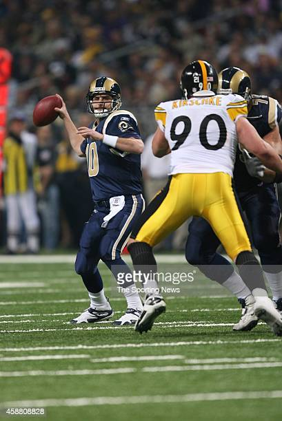 Marc Bulger of the St Louis Rams throws a pass during a game against the Pittsburgh Steelers on December 20 2007 at the Edward Jones Dome in St Louis...