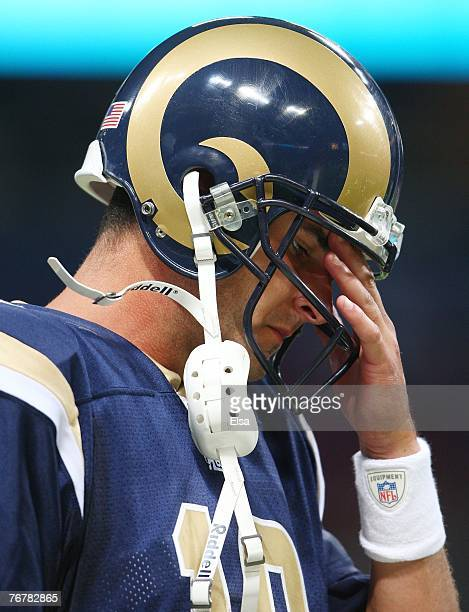 Marc Bulger of the St Louis Rams walks off the field after the game against the San Francisco 49ers at the Edward Jones Dome September 16 2007 in St...