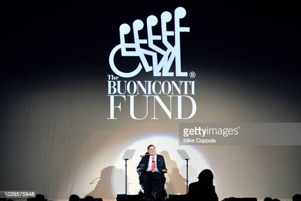 Marc Buoniconti speaks onstage during the 33rd Annual Great Sports Legends Dinner which raised millions of dollars for the Buoniconti Fund to Cure...