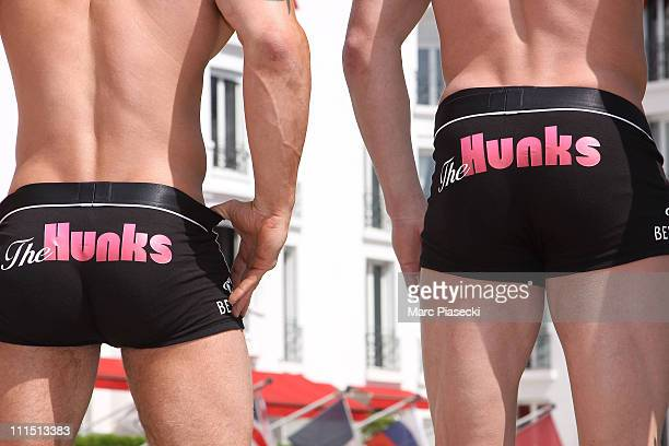 Marc Burgum and Jamie Spencer attend a photocall for 'The Hunks' during MIPTV 2011 at Hotel Majestic on April 4 2011 in Cannes France