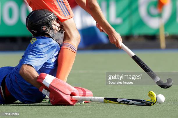 Marc Calzada of Spain during the match between Holland v Spain Rabo Super Serie 2018 at the Alkmaarsche MHC on June 10 2018 in Alkmaar Netherlands