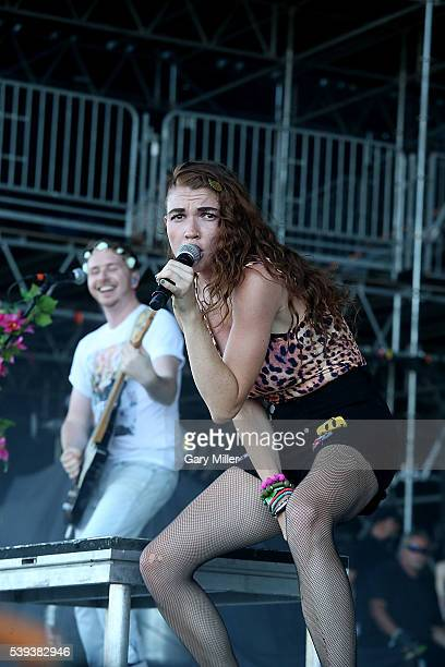 Marc Campbell and Mandy Lee of Misterwives perform during the second day of the Bonnaroo Music and Arts Festival on June 10 2016 in Manchester...