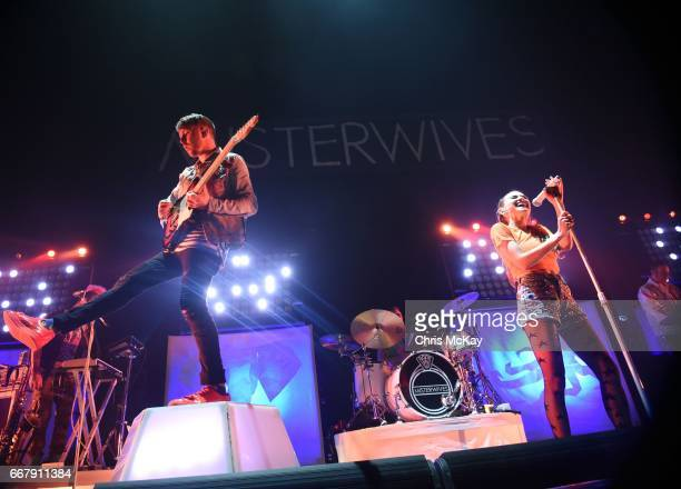 Marc Campbell Etienne Bowler Mandy Lee and Mike Murphy of MisterWives perform at Infinite Energy Center on April 12 2017 in Duluth Georgia
