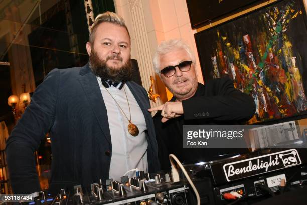 Marc Cerrone and DJ Greg Boust attend Marc Cerrone Exhibition Preview at Deux Magots on March 12 2018 in Paris France