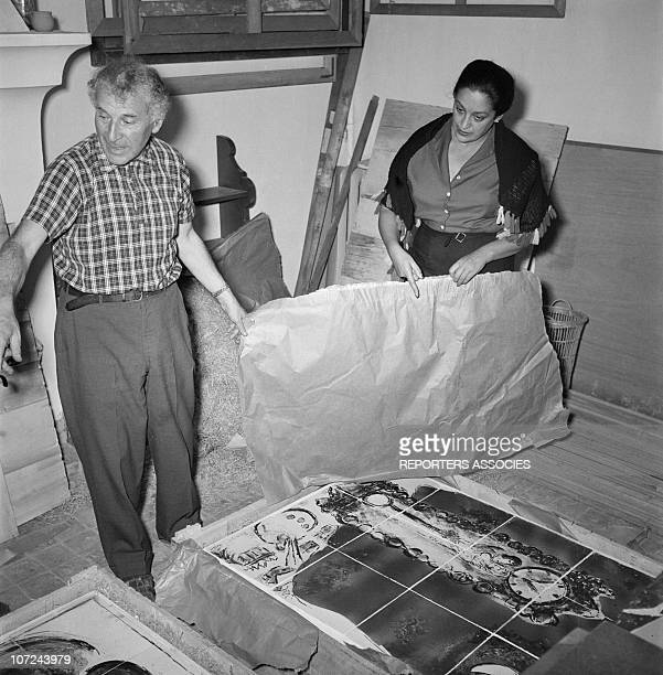 Marc Chagall and Valentina Brodsky at the Madoura ceramics workshop in 1948 in Vallauris France