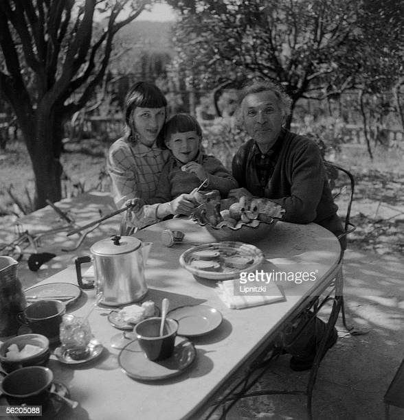 Marc Chagall French painter his wife Virginia and their son David Mac Neil in Cannes April 1951