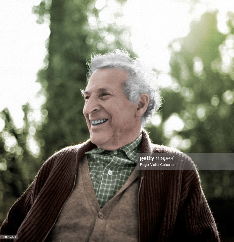 Marc Chagall ( 1887-1985 ), French painter. Vence, about 1955. Colourized photo.