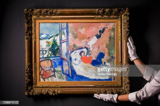Marc Chagall's Le rêve est. £700,000 - 900,000 goes on view as part of 'From Rembrandt to Richter: 500 Years of Art' at Sotheby's on July 17, 2020 in...