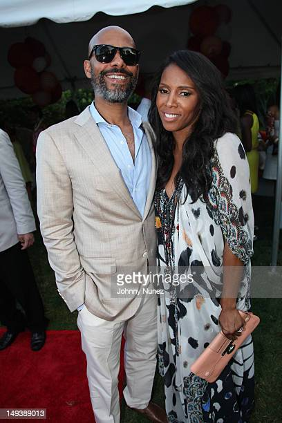 Marc Chamblin and June Ambrose attend the New Orleans In The Hamptons Benefit on July 27 2012 in Bridgehampton New York