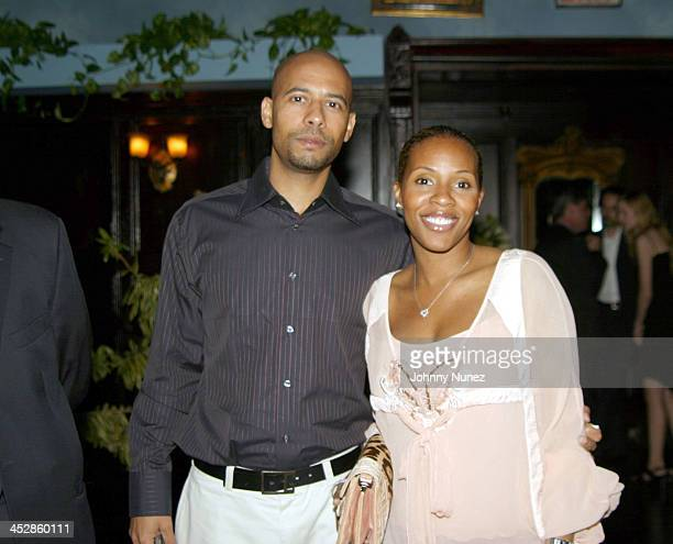 Marc Chamblin and June Ambrose during Olympus Fashion Week Spring 2005 Stevie Wonder Introduces Designer Kai Milla at Show in New York City New York...