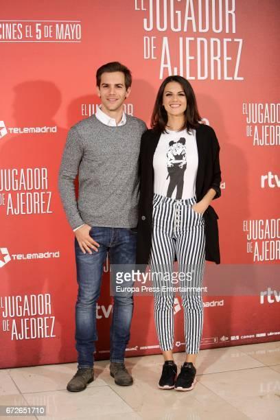 Marc Clotet and Melina Matthews attend the 'El Jugador de Ajedrez' photocall at Princesa cinema on April 24 2017 in Madrid Spain