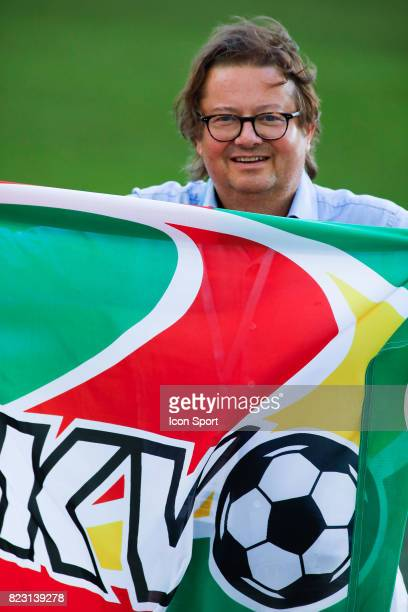 Marc Coucke of KV Ostende during the training session before the UEFA Europa League qualifying match between Marseille and Ostende at Stade Velodrome...