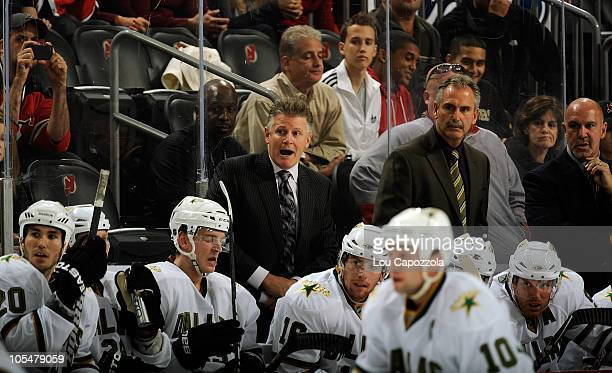 Marc Crawford head coach of the Dallas Stars during a game against the New Jersey Devils on October 8 2010 in Newark New Jersey