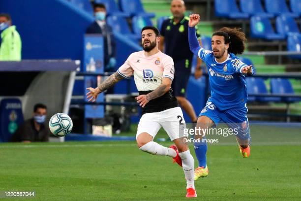 Marc Cucurella of FC Getafe and Pipa Gonzalo Avila of Espanyol Barcelona battle for the ball during the Liga match between Getafe CF and RCD Espanyol...