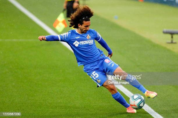 Marc Cucurella of FC Getafe controls the ball during the Liga match between Getafe CF and RCD Espanyol at Coliseum Alfonso Perez on June 16 2020 in...
