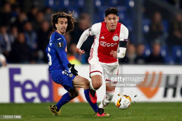 Marc Cucurella of Getafe Edson Alvarez of Ajax during the UEFA Europa League match between Getafe v Ajax at the Coliseum Alfonso Perez on February 20...