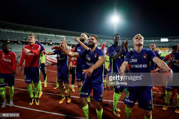 Marc Dal Hende and Rasmus Nissen of FC Midtjylland celebrate after the Danish Alka Superliga match between AGF Aarhus and FC Midtjylland at Ceres...