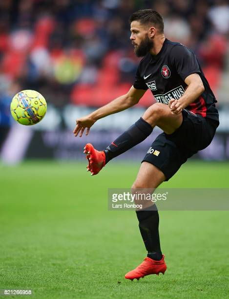 Marc Dal Hende of FC Midtjylland controls the ball during the Danish Alka Superliga match between FC Midtjylland and Silkeborg IF at MCH Arena on...