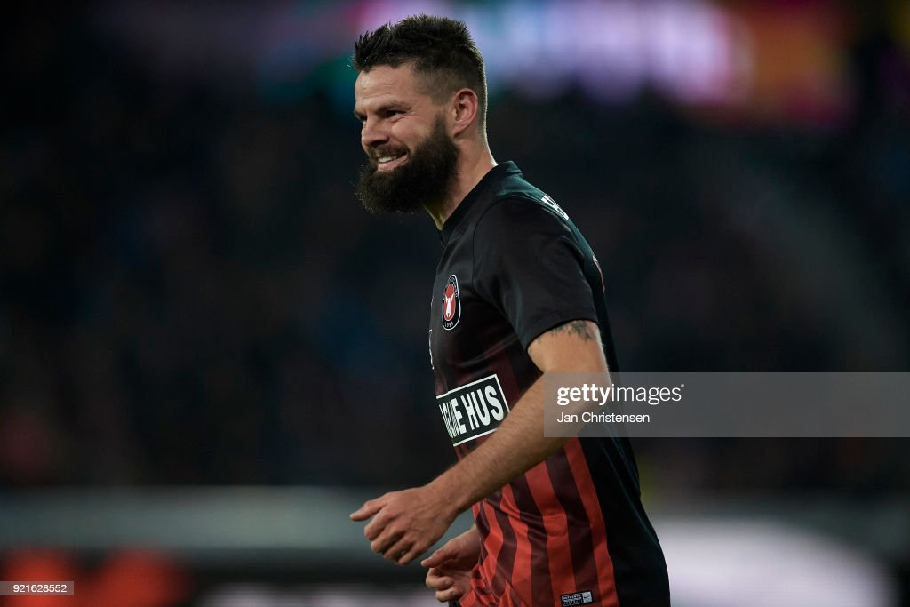 Marc Dal Hende of FC Midtjylland looks on during the Danish Alka Superliga match between FC Midtjylland and FC Copenhagen at MCH Arena on February 18, 2018 in Herning Denmark.