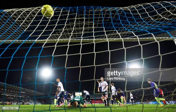 Marc Dal Hende of FC Midtjylland scores the 30 goal against Goalkeeper Aleksandar Jovanovic of AGF Aarhus during the Danish Alka Superliga match...