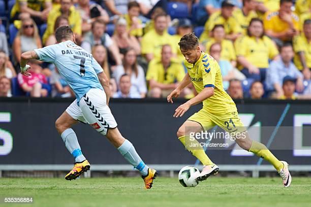 Marc Dal Hende of SonderjyskE and Andrew Hjulsager of Brondby IF in action during the Danish Alka Superliga match between Brondby IF and SonderjyskE...