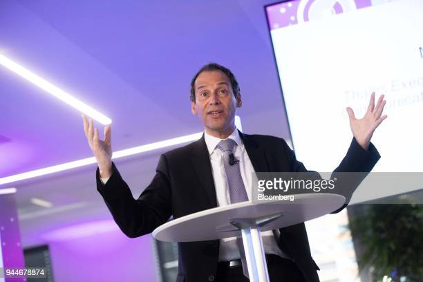 Marc Darmon vice president of secure communications and information systems at Thales SA gestures while delivering a speech during the Thales cyber...