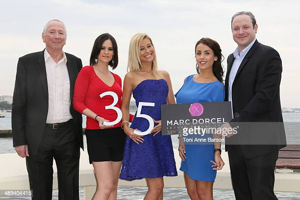 Marc Dorcel Claire Castel Lola Reve Jade Laroche and Gregory Dorcel attend photocall for DORCEL 35th Anniversary at MIPTV 2014 at Hotel Majestic...