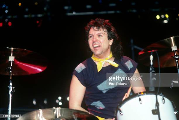 Marc Droubay performing with Survivor at the Meadowlands in East Rutherford, New Jersey on February 17,1985.