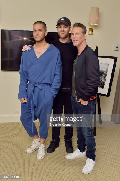 Marc Duron Scott Lipps and Dan Kennedy attend Diesel Presents Scott Lipps Photography Exhibition 'Rocks Not Dead' at Sunset Tower on June 28 2018 in...