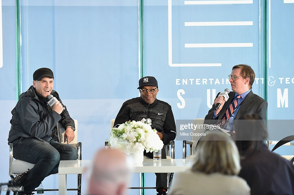 Marc Ecko, Spike Lee and Brent Lang speak onstage at Variety's Entertainment and Technology Summit NYC at Le Parker Meridien on April 30, 2015 in New York City.
