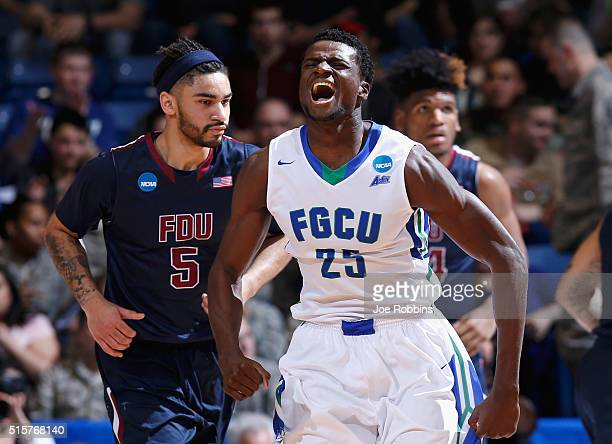 Marc Eddy Norelia of the Florida Gulf Coast Eagles reacts in the first half against the Fairleigh Dickinson Knights during the first round of the...
