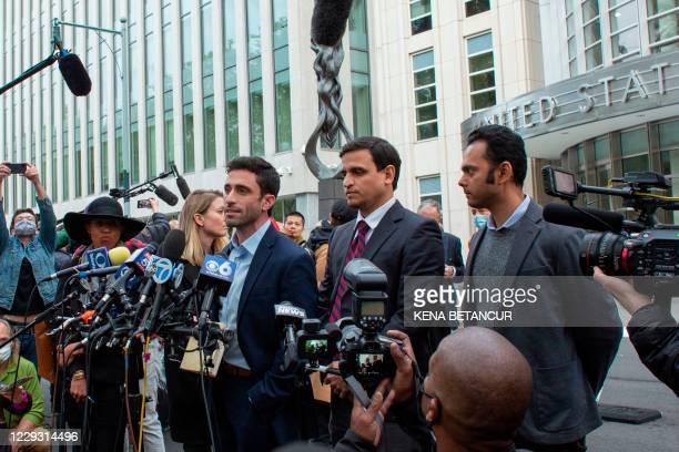 "Marc Elliott, former member of NXVIUM, speaks to reporters after Rainiere was sentenced to 120 years in prison on October 27, 2020. - A ""self-help""..."