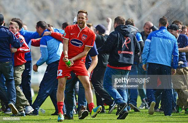 Marc Endres of Heidenheim celebrates after the third Bundesiga match between SV Elversberg and 1. FC Heidenheim on April 19, 2014 in Neunkirchen,...