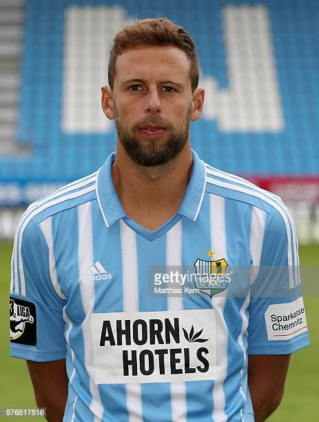 Marc Endres poses during the Chemnitzer FC team presentation on July 15 2016 in Chemnitz Germany