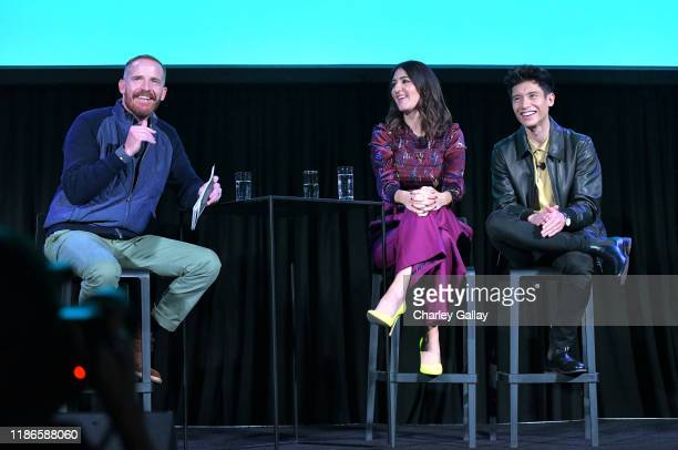 Marc Evan Jackson D'Arcy Carden and Manny Jacinto speak onstage at Vulture Festival Presented By ATT at The Roosevelt Hotel on November 09 2019 in...