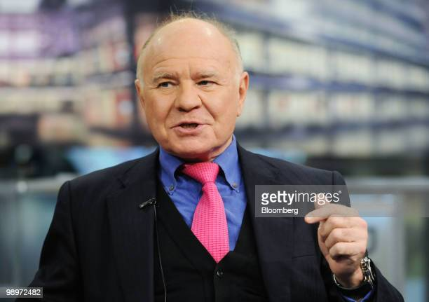Marc Faber investment analyst speaks during a television interview in New York US on Monday May 10 2010 Faber the publisher of the Gloom Boom Doom...
